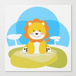Lion in the savannah Canvas Print