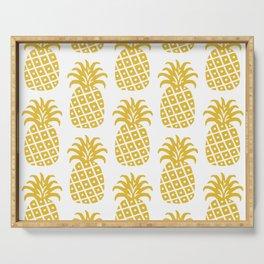 Retro Mid Century Modern Pineapple Pattern Yellow Serving Tray