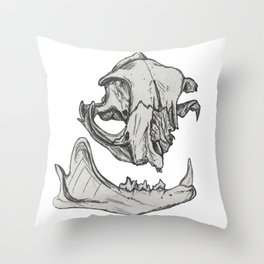 Cat Skull 1 (original black & white) Throw Pillow