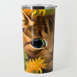 """Louis Wain's Cats """"Tabby in the Marigolds"""" Travel Mug"""