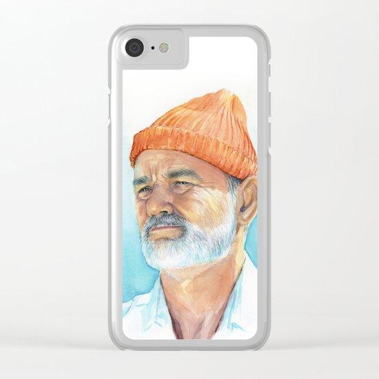 Steve Zissou Art Life Aquatic Bill Murray Watercolor Portrait Clear iPhone Case