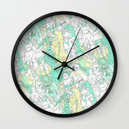 Space Toons in Pastel Greens and Yellow Wall Clock