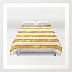 Golden Glitter Girly - Chic Stripes - Duvet Cover - Decor - Tech Art Print