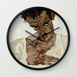 "Egon Schiele ""Self-Portrait with Lowered Head"" Wall Clock"
