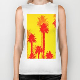 orange palm tree pattern abstract with yellow background Biker Tank