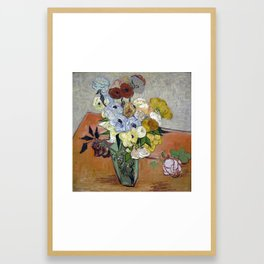 Japanese Vase with Roses and Anemones Framed Art Print