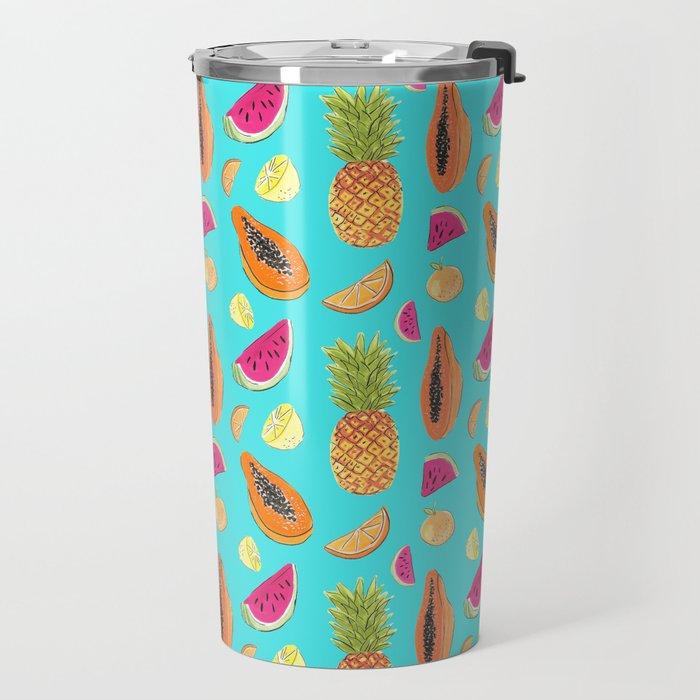 Frutas Tropicales en fondo celeste Travel Mug