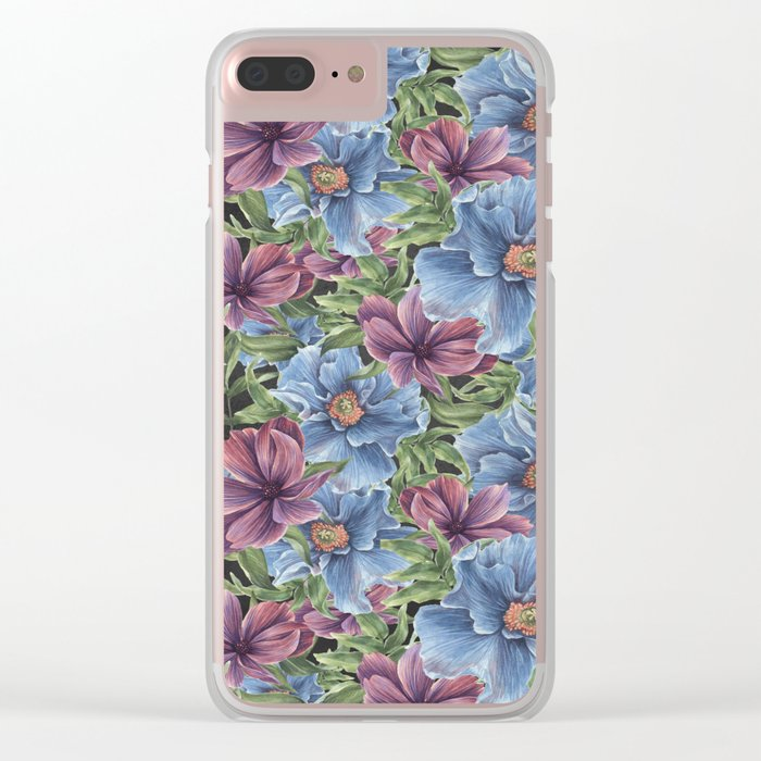 Hibiscus Flowers on Chalkboard Clear iPhone Case
