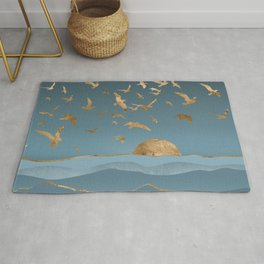 Blueprint and Gold Sea Scape Rug