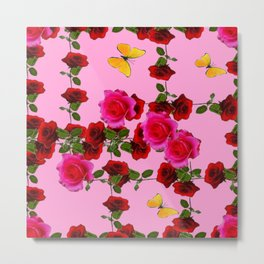 CLIMBING PINK & RED ROSES YELLOW BUTTERFLIES Metal Print