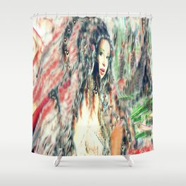 Indian princess  feathered headdress by lady Kashmir  Shower Curtain
