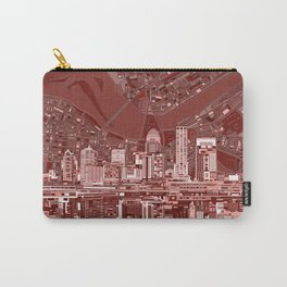 louisville city skyline red Carry-All Pouch