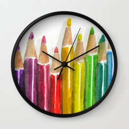 Colored Pencils Wall Clock