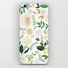 White and beige roses pattern iPhone Skin