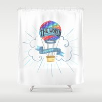 tolkien Shower Curtains featuring The World Is Out There; The Hobbit, J.R.R. Tolkien by astoldbycaro