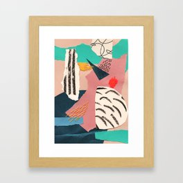 abstract collage with embroidery Framed Art Print