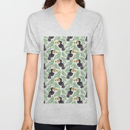 Watercolor green black yellow toucan bird floral Unisex V-Neck