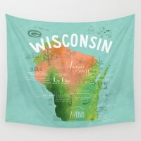 wisconsin Wall Tapestries featuring Wisconsin Map by Stephanie Marie Steinhauer