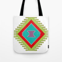 kilim Tote Bags featuring Persian Kilim  - Plain Background by Katayoon Photography & Design