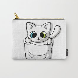 Cute White Pocket Cat Carry-All Pouch