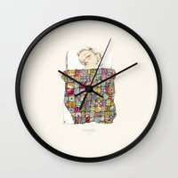 eugenia loli Wall Clocks featuring sleeping child by Cecilia Sánchez