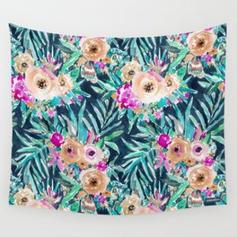 SO CASUAL Dark Tropical Palm Floral Wall Tapestry