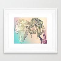 t rex Framed Art Prints featuring T-REX  by T.E.Perry