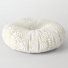 Gold and white geometric Art Deco pattern Floor Pillow