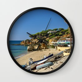 Olhos d'Agua beach in winter, Portugal Wall Clock