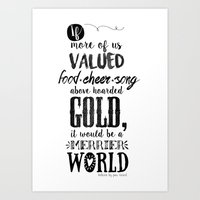 tolkien Art Prints featuring Tolkien quote by Pau Ricart