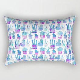 Modern hand painted pink teal watercolor cute cactus floral Rectangular Pillow