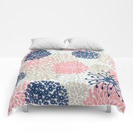 Floral Mixed Blooms, Blush Pink, Navy Blue, Gray, Beige Comforters
