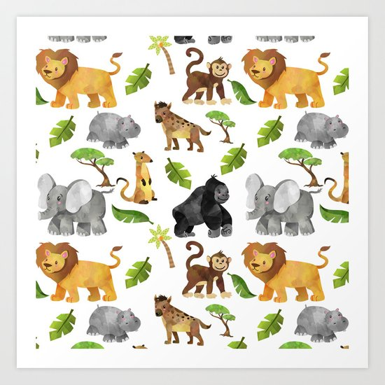 Safari Animals Pattern Watercolor by moonfluff
