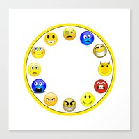 wall clock Canvas Prints featuring Emojis Wall Clock by cabgodfrey