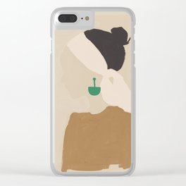 Minimalist Woman with Green Earring Clear iPhone Case