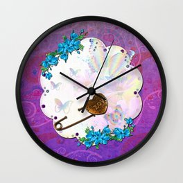 Butterfly Dream Scene Jeweled Mixed Media Wall Clock