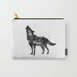 Watercolor Wolf - Black Carry-All Pouch