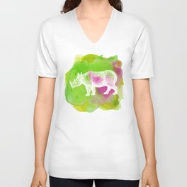 Color Spot Safari Rhinoceros Unisex V-Neck
