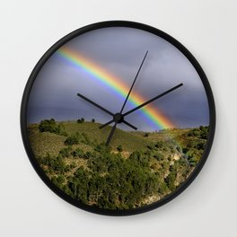 Big rainbow. At he mountains Wall Clock