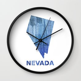 Nevada map outline Steel blue clouded wash drawing paper Wall Clock