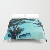 palm trees Duvet Covers featuring Palm Trees by Alexandra Str