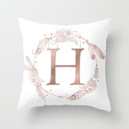 Letter H Rose Gold Pink Initial Monogram Throw Pillow