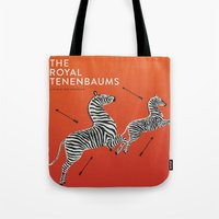 tenenbaums Tote Bags featuring Margot's Wallpaper / The Royal Tenenbaums / Wes Anderson by David Ramsay, Jr.