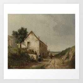 Camille Pissarro 1830 - 1903 HOUSE AT THE EDGE OF A COUNTRY ROAD WITH CHARACTERS Art Print