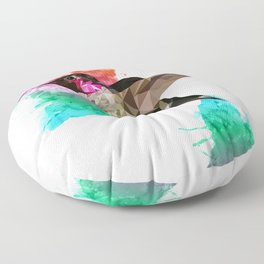 Humming bird Poly + painsplash Floor Pillow
