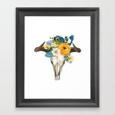 Bohemian bull skull and antlers with flowers Framed Art Print