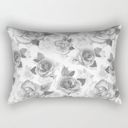 Hand painted black white watercolor roses floral pattern Rectangular Pillow