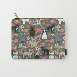 French Bulldog florals mixed coat colors dog breed pet must have gifts frenchies Carry-All Pouch