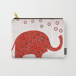 Red Circles Elephant Carry-All Pouch