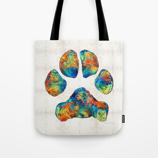 Colorful Dog Paw Print by Sharon Cummings Tote Bag